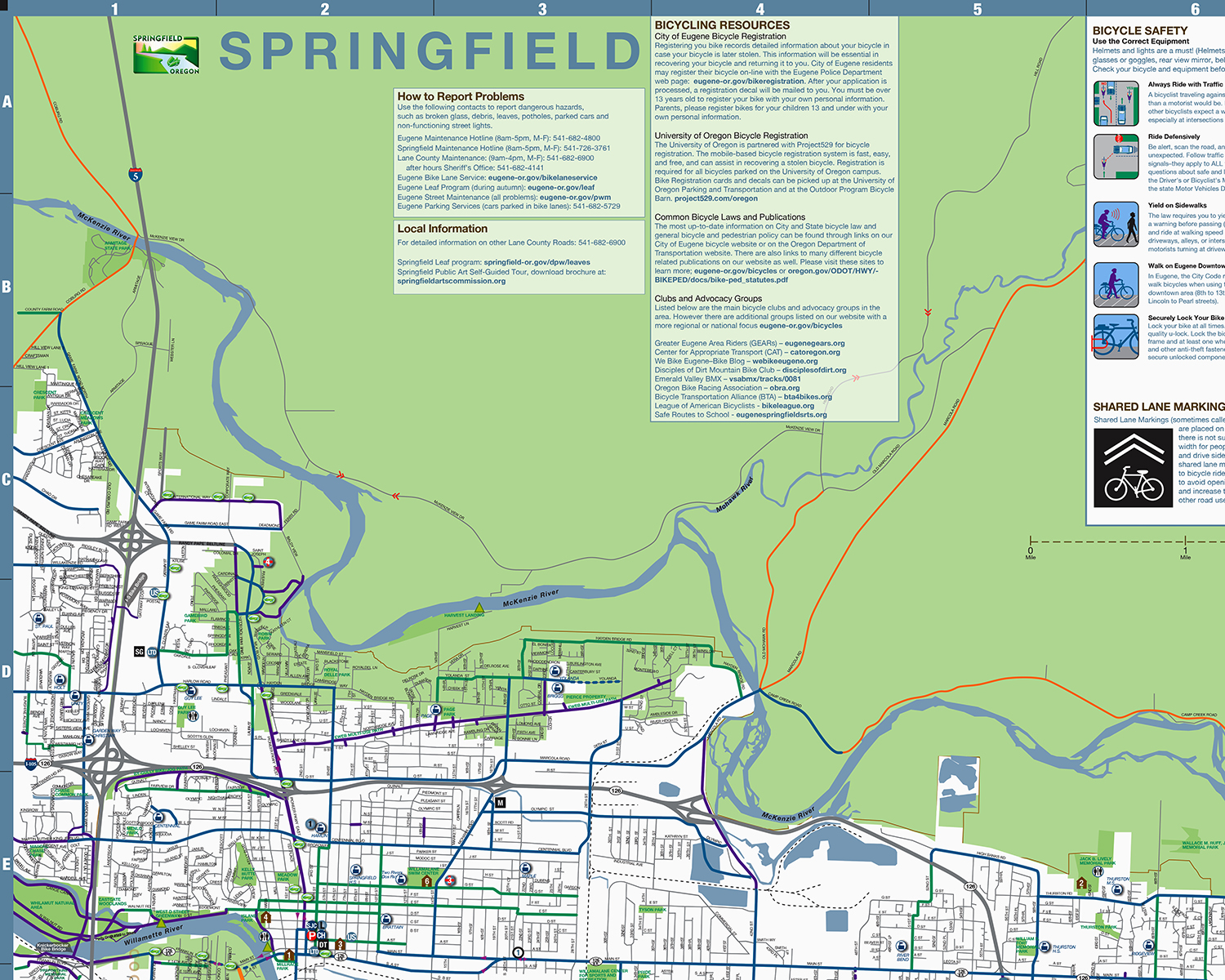 Springfield Bicycle Map
