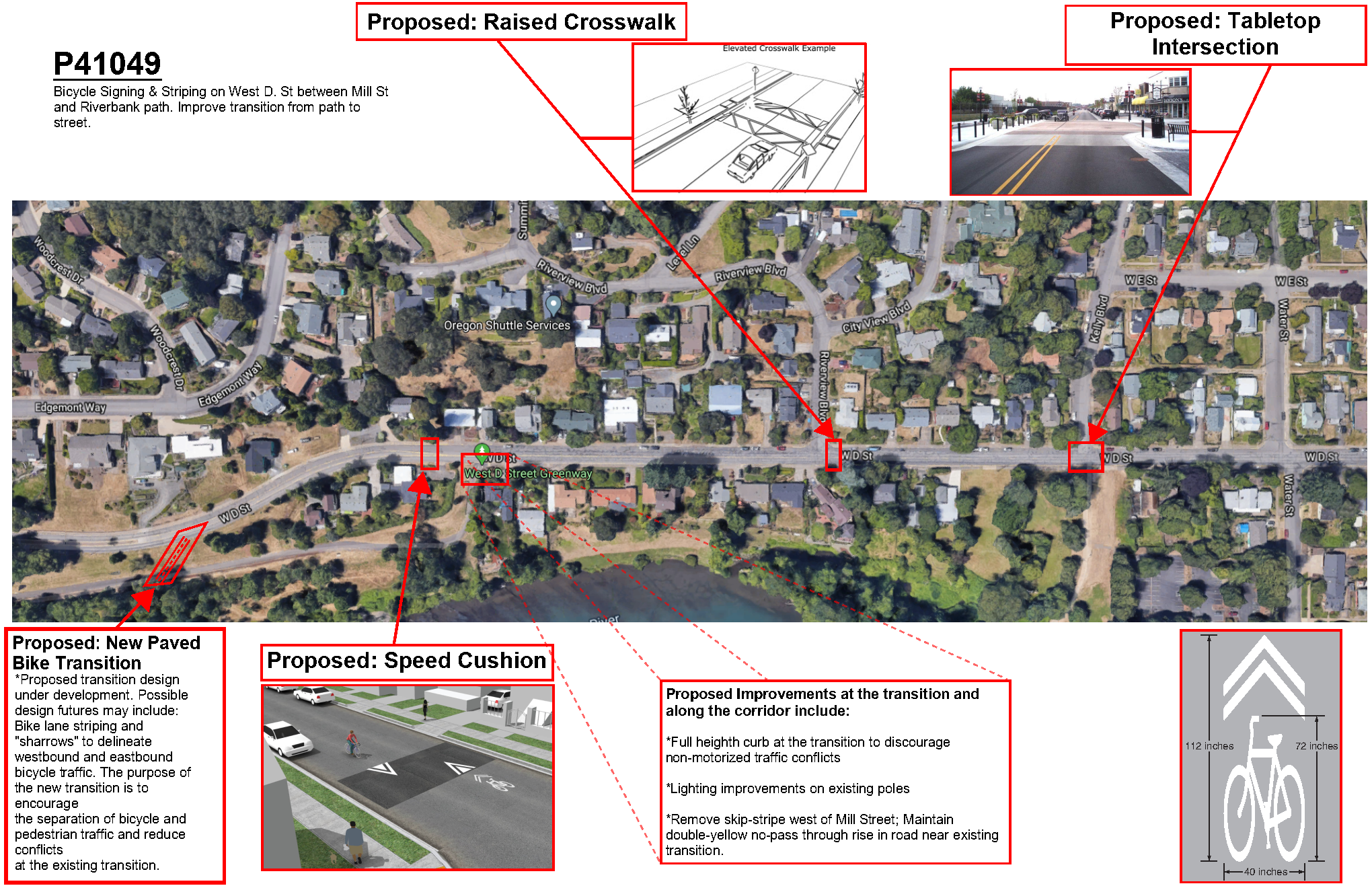 Diagram of concept for street calming measures shared with BPAC in June 2020.