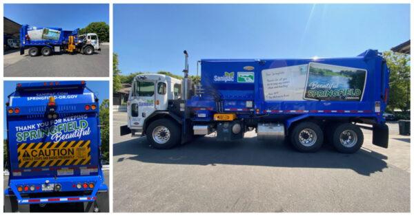Sanipac Garbage Truck with Beautiful Springfield truck wrap
